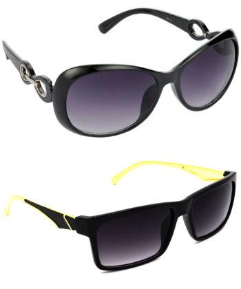 Air Strike Grey Lens Black & Golden Frame Best Sunglasses For Men Women Boys & Girls - HCMBO1602
