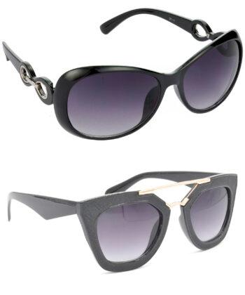 Air Strike Grey Lens Black & Golden Frame Best Sunglasses For Men Women Boys & Girls - HCMBO1619