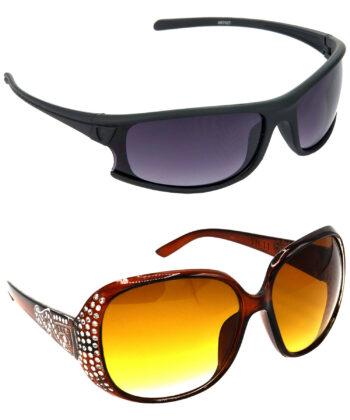 Air Strike Brown Lens Brown & Silver Frame UV Protection Sunglasses For Men Women Boys & Girls - HCMBO1740