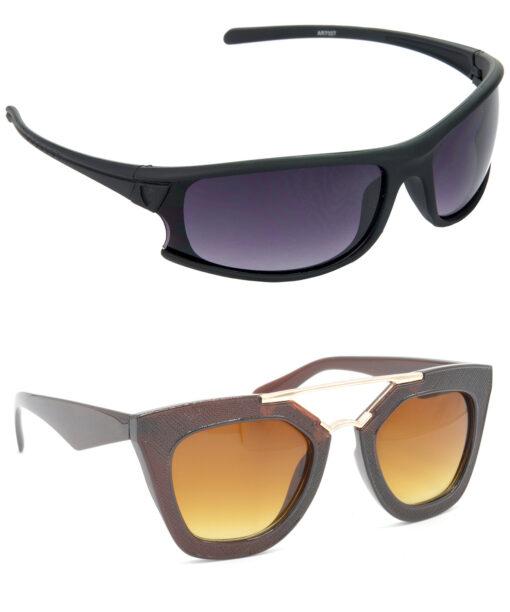 Air Strike Brown Lens Brown & Golden Frame New Sunglasses For Men Women Boys & Girls - HCMBO1745