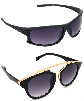 Air Strike Brown & Grey Lens Brown & Golden Frame Stylish Shades For Men Women Boys & Girls - HCMBO1764