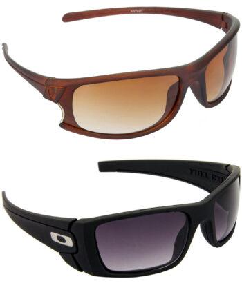 Air Strike Brown & Blue Lens Brown & Black Frame Latest Sunglasses For Men & Boys - HCMBO1827