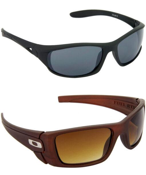Air Strike Grey & Brown Lens Black & Brown Frame Stylish Sunglasses For Men & Boys - HCMBO1953