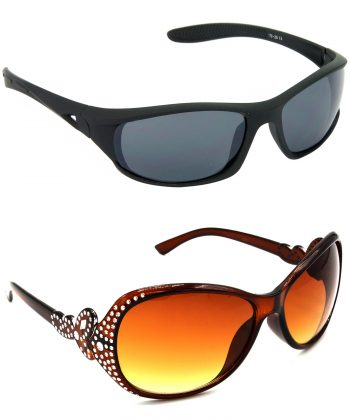 Air Strike Grey & Brown Lens Black & Silver Frame Latest Goggles For Men Women Boys & Girls - HCMBO1979
