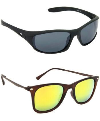 Air Strike Grey & Golden Lens Black & Brown Frame Safety Goggles For Men Women Boys & Girls - HCMBO2035