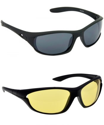 Air Strike Grey & Yellow Lens Black Frame Safety Goggles For Men Women Boys & Girls - HCMBO2052