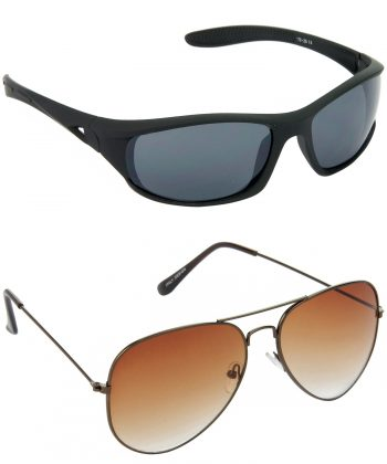 Air Strike Grey & Brown Lens Black & Brown Frame Stylish Goggles For Men & Boys - HCMBO2054