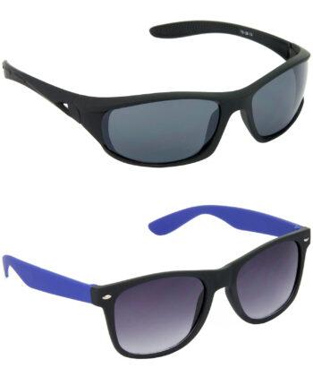 Air Strike Grey Lens Black & Blue Frame Latest Sunglasses For Men & Boys - HCMBO2065