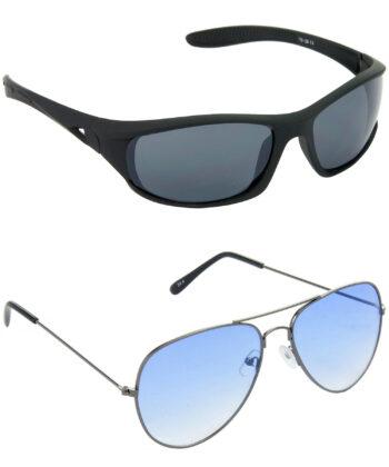 Air Strike Grey & Blue Lens Black & Grey Frame New Sunglasses For Men & Boys - HCMBO2068