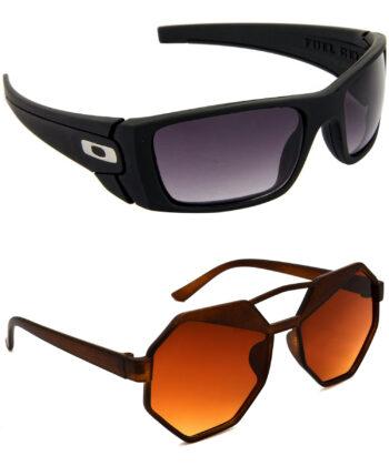 Air Strike Blue & Brown Lens Black & Brown Frame Best Goggles For Men Women Boys & Girls - HCMBO2213