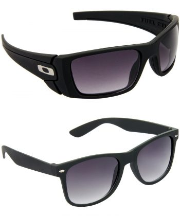 Air Strike Blue & Grey Lens Black Frame Stylish Shades For Men & Boys - HCMBO2291