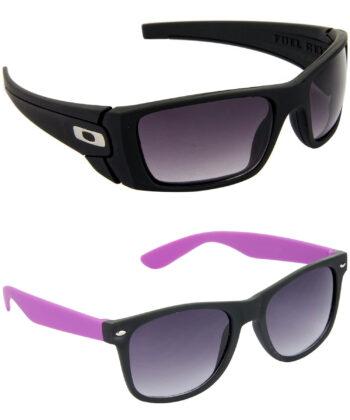 Air Strike Blue & Grey Lens Black & Violet Frame New Sunglasses For Men & Boys - HCMBO2306