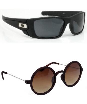 Air Strike Black & Brown Lens Black & Silver Frame Stylish Shades For Men Women Boys & Girls - HCMBO2325