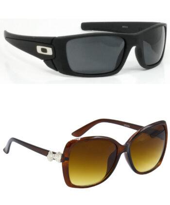 Air Strike Black & Clear Lens Black & Brown Frame Sunglasses For Men Women Boys & Girls - HCMBO2329
