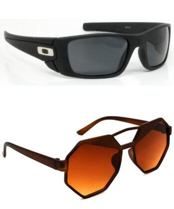 Air Strike Black & Brown Lens Black & Brown Frame Best Sunglasses For Men Women Boys & Girls - HCMBO2333