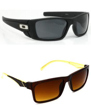 Air Strike Black & Brown Lens Black & Golden Frame New Goggle For Men Women Boys & Girls - HCMBO2338