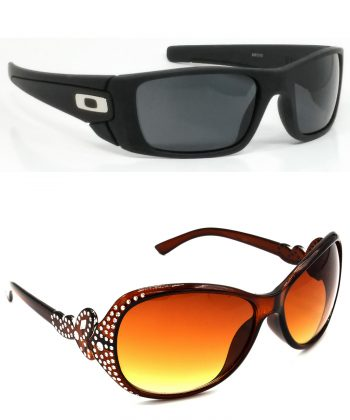 Air Strike Black & Brown Lens Black & Silver Frame Stylish Shades For Men Women Boys & Girls - HCMBO2342