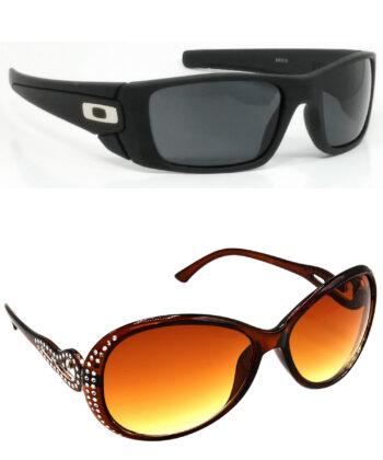 Air Strike Black & Brown Lens Black & Silver Frame Sunglasses For Men Women Boys & Girls - HCMBO2346