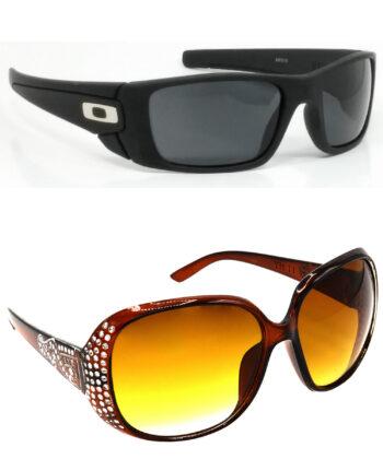 Air Strike Black & Brown Lens Black & Silver Frame Best Goggles For Men Women Boys & Girls - HCMBO2349