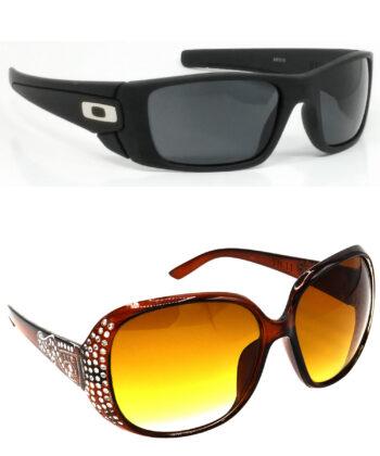 Air Strike Black & Brown Lens Black & Silver Frame Best Sunglasses For Men Women Boys & Girls - HCMBO2350