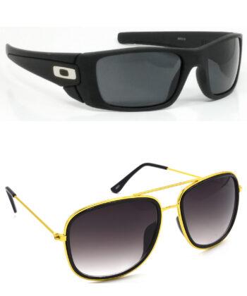 Air Strike Black & Brown Lens Black & Golden Frame Safety Goggles For Men Women Boys & Girls - HCMBO2358
