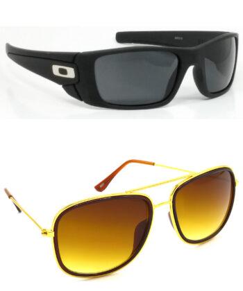 Air Strike Black & Blue Lens Black Frame Stylish Shades For Men Women Boys & Girls - HCMBO2359