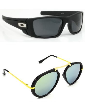 Air Strike Black & Blue Lens Black & Grey Frame UV Protection Glasses For Men Women Boys & Girls - HCMBO2365