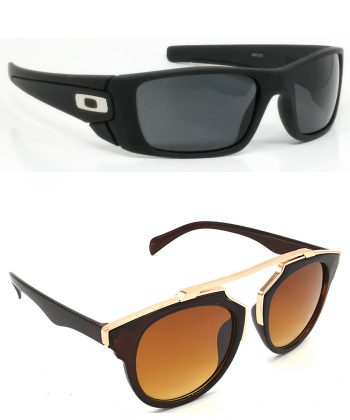 Air Strike Black & Blue Lens Black & Golden Frame Stylish Shades For Men Women Boys & Girls - HCMBO2376
