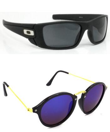 Air Strike Black & Golden Lens Black & Grey Frame Stylish Goggles For Men Women Boys & Girls - HCMBO2377