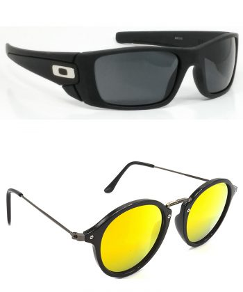 Air Strike Black & Blue & Green Lens Black Frame Stylish Sunglasses For Men Women Boys & Girls - HCMBO2378