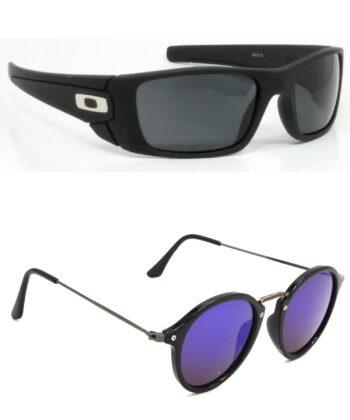 Air Strike Black & Golden Lens Black & Brown Frame Sunglasses For Men Women Boys & Girls - HCMBO2380