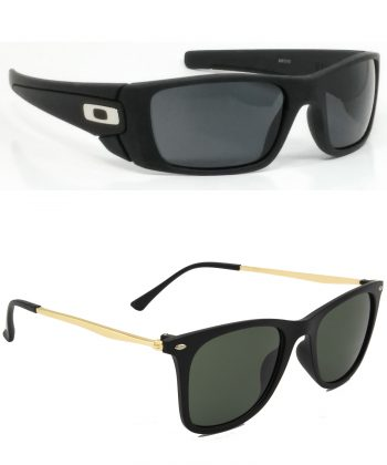 Air Strike Black & Blue Lens Black & Grey Frame Stylish Shades For Men Women Boys & Girls - HCMBO2393