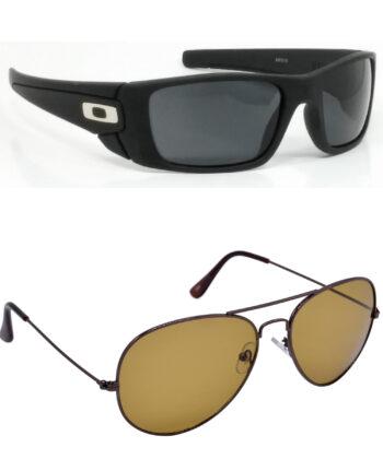 Air Strike Black & Brown Lens Black & Golden Frame Fashion Goggles For Men & Boys - HCMBO2402