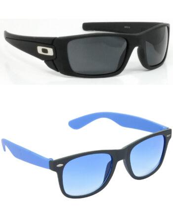 Air Strike Black & Grey Lens Black & Blue Frame Stylish Goggles For Men & Boys - HCMBO2428