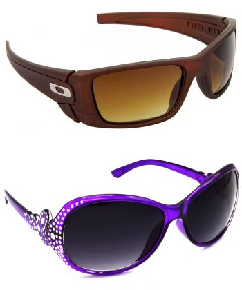 Air Strike Brown & Grey Lens Brown & Violet Frame Stylish Shades For Men Women Boys & Girls - HCMBO2580