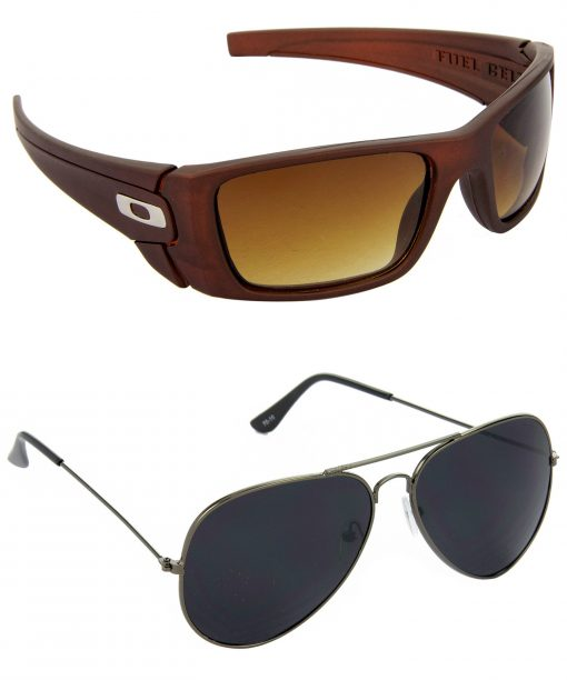 Air Strike Brown & Black Lens Brown & Grey Frame UV Protection Sunglasses For Men & Boys - HCMBO2641