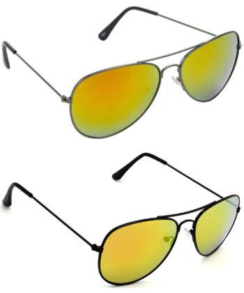 Air Strike Yellow & Golden Lens Grey & Black Frame Best Sunglasses For Men Women Boys & Girls - HCMBO2741