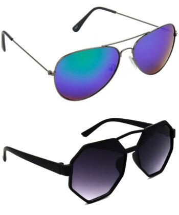 Air Strike Blue & Grey Lens Grey & Black Frame Stylish Goggles For Men Women Boys & Girls - HCMBO2802