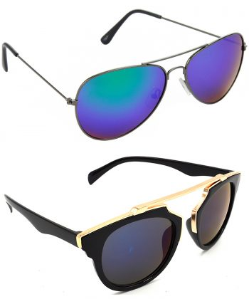 Air Strike Blue & Grey Lens Grey & Golden Frame Best Goggles For Men Women Boys & Girls - HCMBO2842