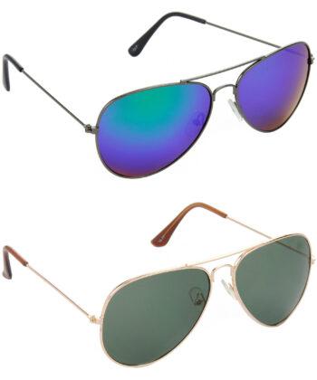Air Strike Blue & Green Lens Grey & Golden Frame UV Protection Glasses For Men & Boys - HCMBO2875
