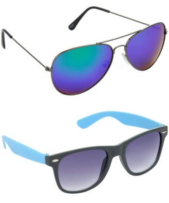 Air Strike Blue & Grey Lens Grey & Blue Frame Sunglasses Styles For Men & Boys - HCMBO2891