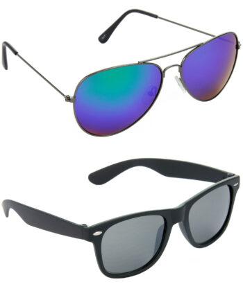 Air Strike Blue & Black Lens Grey & Black Frame Best Sunglasses For Men & Boys - HCMBO2894
