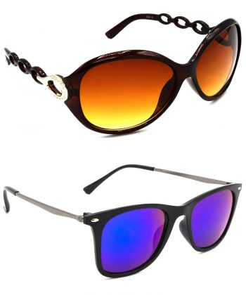 Air Strike Brown & Blue Lens Brown & Grey Frame Stylish Sunglasses For Men Women Boys & Girls - HCMBO3092