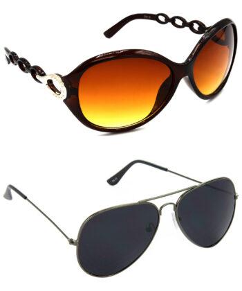 Air Strike Brown & Black Lens Brown & Grey Frame New Goggle For Men Women Boys & Girls - HCMBO3103