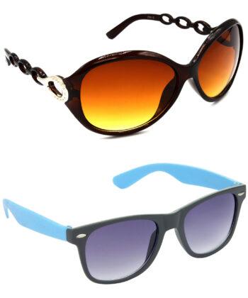 Air Strike Brown & Grey Lens Brown & Blue Frame New Goggle For Men Women Boys & Girls - HCMBO3120