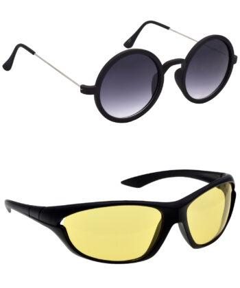 Air Strike Grey & Yellow Lens Silver & Black Frame Stylish Goggles For Men Women Boys & Girls - HCMBO3227