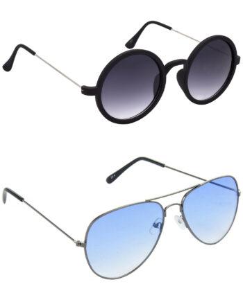Air Strike Grey & Blue Lens Silver & Grey Frame Stylish Shades For Men Women Boys & Girls - HCMBO3243