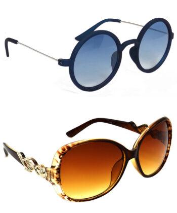 Air Strike Blue & Brown Lens Blue & Brown Frame Sunglasses For Men Women Boys & Girls - HCMBO3366