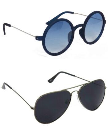 Air Strike Blue & Black Lens Blue & Grey Frame Fashion Goggles For Men Women Boys & Girls - HCMBO3439