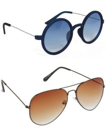 Air Strike Blue & Brown Lens Blue & Brown Frame Sunglasses Styles For Men Women Boys & Girls - HCMBO3452